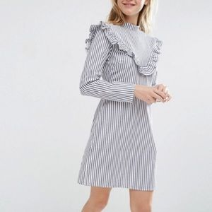 Asos Petite Front Ruffle Dress in Cotton Stripe